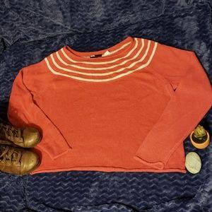 Light flowy knit sweater w white stripes, women's